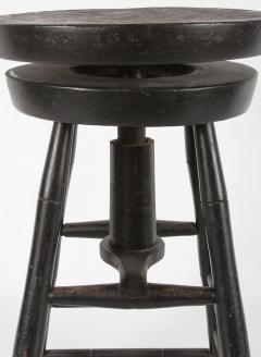 Rare Swiveling Windsor Stool in Black Paint ca 1820 1840 - 14881