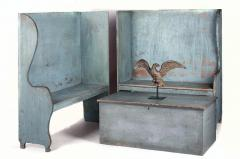 Pair of Robins Egg Blue Painted Benches from a Portico on an 1890s Home - 14901