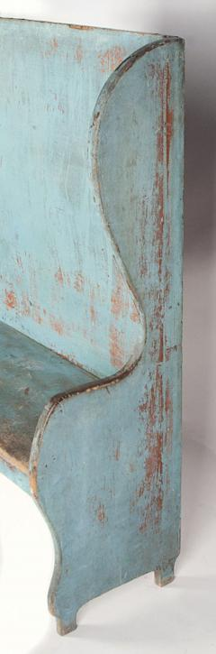 Pair of Robins Egg Blue Painted Benches from a Portico on an 1890s Home - 14905