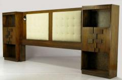 Upholstered King Headboard In Walnut With Block Front Nightstands circa 1970s - 15004