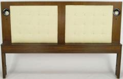 Upholstered King Headboard In Walnut With Block Front Nightstands circa 1970s - 15005