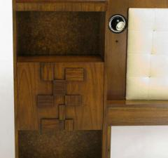 Upholstered King Headboard In Walnut With Block Front Nightstands circa 1970s - 15006