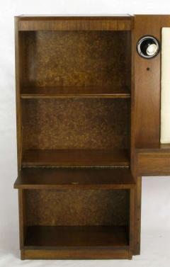 Upholstered King Headboard In Walnut With Block Front Nightstands circa 1970s - 15007