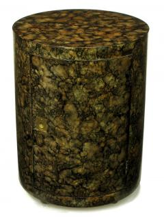 Pair Custom Faux Tortoise Shell Cylinder Commodes circa 1970s - 15012