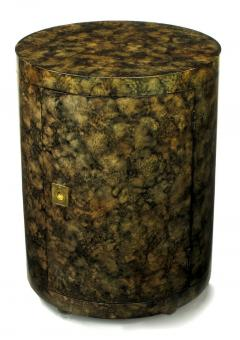Pair Custom Faux Tortoise Shell Cylinder Commodes circa 1970s - 15013