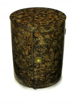 Pair Custom Faux Tortoise Shell Cylinder Commodes circa 1970s - 15014