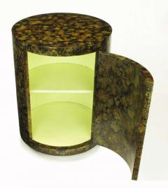 Pair Custom Faux Tortoise Shell Cylinder Commodes circa 1970s - 15015