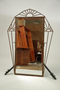 Geometric Hand Wrought Iron Mirror French c 1930 - 17397
