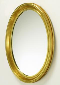 Oval Light Dark Gilded Wall Mirror USA c 1960s - 19519