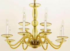 1940s Twelve Arm Murano Deep Champagne Glass Chandelier Italy - 19587