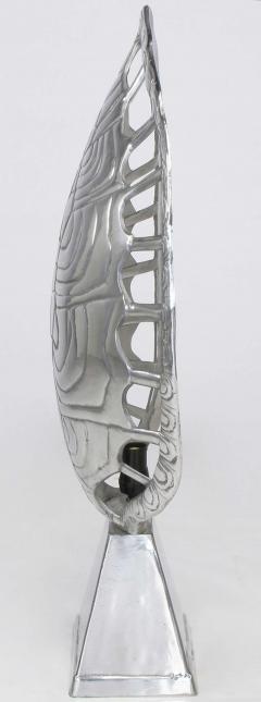 Arthur Court Polished Aluminum Tortoise Shell Lamp USA c 1970s - 19600