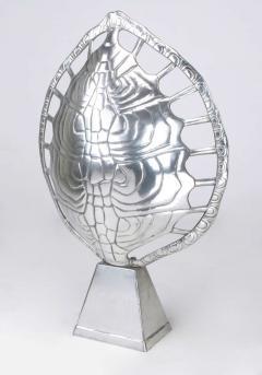 Arthur Court Polished Aluminum Tortoise Shell Lamp USA c 1970s - 19601