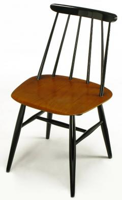 Ilmari Tapiovaara Six Teak and Black Lacquer Dining Chairs Ilmari Tapiovaara Sweden c 1950s - 23613