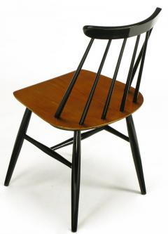 Ilmari Tapiovaara Six Teak and Black Lacquer Dining Chairs Ilmari Tapiovaara Sweden c 1950s - 23615