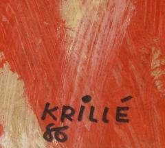 Jean Krille Geneva Switzerland 86 Jean Krille 1923 1991 Acrylic On Board c 1986 - 23623
