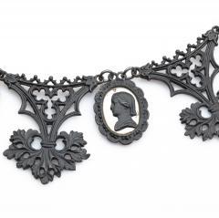 Berlin Iron Mirrored Cameo Necklace Circa 1805 1920 - 24714