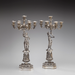 Pair of Classical Silvered Bronze Seven Light Figural Candelabra c 1840 - 26571