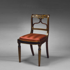 Important Set of 4 Carved and Gilt Decorated Rosewood Upholstered Side Chairs - 26589
