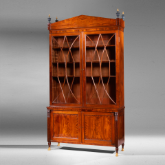 Extremely Fine and Rare Federal Carved Mahogany Bookcase with Brass Paw Feet - 29968