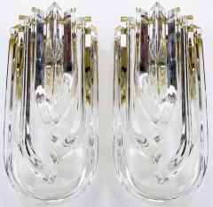 Venini Pair of Venini Bent Crystal and Brass Sconces Italy c 1970s - 31196