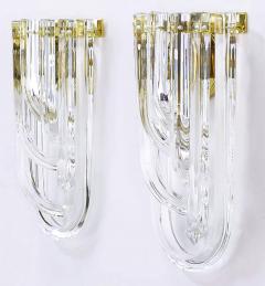 Venini Pair of Venini Bent Crystal and Brass Sconces Italy c 1970s - 31197