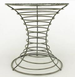 Custom Studio Center Table with Steel Rounds Top and Open Hourglass Base - 31231