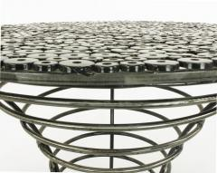 Custom Studio Center Table with Steel Rounds Top and Open Hourglass Base - 31235