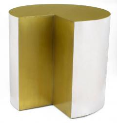 Unusual Chrome Cylinder Table with Bronze Top and Open Wedge USA c 1970s - 31770