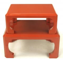 Bert England Pair Cinnabar Red Asian Modern Stacking Tables Bert England For Baker c 1980s - 31775