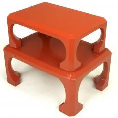 Bert England Pair Cinnabar Red Asian Modern Stacking Tables Bert England For Baker c 1980s - 31776