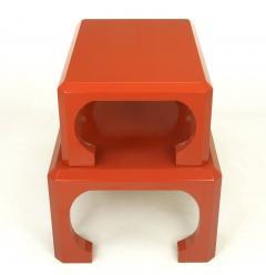 Bert England Pair Cinnabar Red Asian Modern Stacking Tables Bert England For Baker c 1980s - 31777