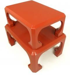 Bert England Pair Cinnabar Red Asian Modern Stacking Tables Bert England For Baker c 1980s - 31780