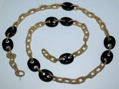 14K Gold and Onyx Convertible Necklace and Bracelet - 1208731