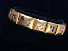14k Gem set Antique panel Bracelet 18k brushed - 1790425
