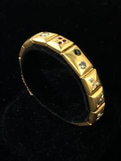 14k Gem set Antique panel Bracelet 18k brushed - 1790427