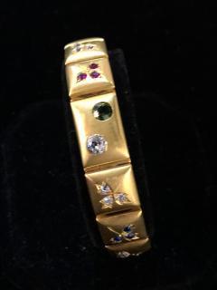 14k Gem set Antique panel Bracelet 18k brushed - 1790428