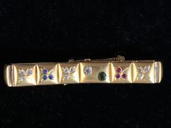 14k Gem set Antique panel Bracelet 18k brushed - 1790429