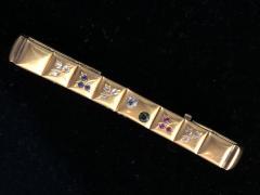 14k Gem set Antique panel Bracelet 18k brushed - 1790430