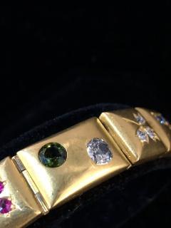 14k Gem set Antique panel Bracelet 18k brushed - 1790431
