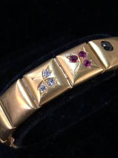 14k Gem set Antique panel Bracelet 18k brushed - 1790432