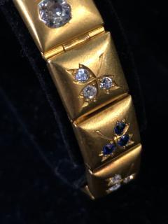 14k Gem set Antique panel Bracelet 18k brushed - 1790433