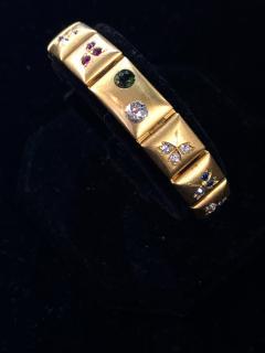 14k Gem set Antique panel Bracelet 18k brushed - 1790434