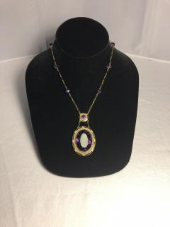 14k Gold Amethyst Enamel and Seed Pearl Pendant Necklace - 1316651