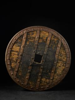 14th C France Heavy Forged Iron and Hardwood Chariot Wheel - 1867442