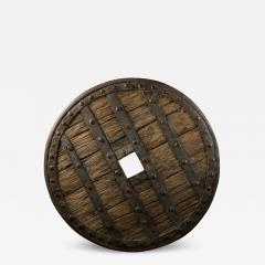 14th C France Heavy Forged Iron and Hardwood Chariot Wheel - 1875680