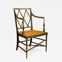 Click On Image To Enlarge.   361561. English Regency Era Painted Wood Arm  Chair ...