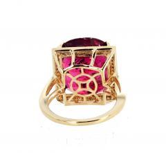 16 21 Carat Red Glittering Tourmaline and Diamond 14KT Yellow Gold Ring - 1865991