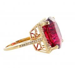 16 21 Carat Red Glittering Tourmaline and Diamond 14KT Yellow Gold Ring - 1865993