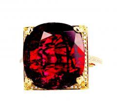 16 21 Carat Red Glittering Tourmaline and Diamond 14KT Yellow Gold Ring - 1865994