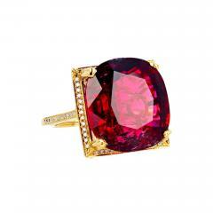 16 21 Carat Red Glittering Tourmaline and Diamond 14KT Yellow Gold Ring - 1866030